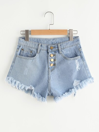 Plus Distress Fray Hem Single-breasted Denim Shorts