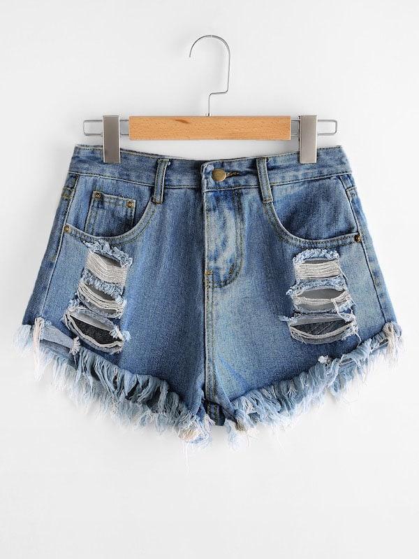 Размера плюс рваные джинсовые шорты