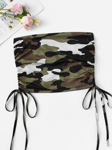 Camo Print Drawstring Side Tube Top