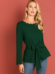 Scallop Trim Self Belted Top