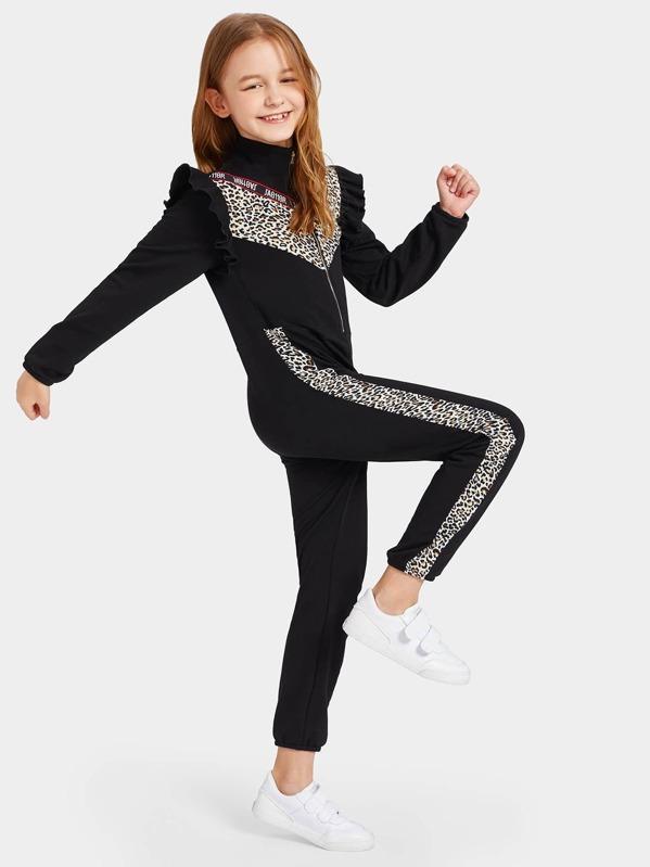 405786e836b6 Girls Leopard Panel Ruffle Trim Track Jumpsuit