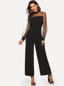 Mesh Insert Mock-neck Jumpsuit