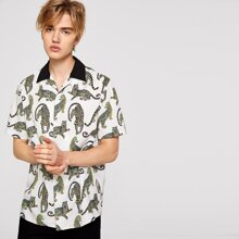 Image of Men Contrast Collar Allover Leopard Print Buttoned Shirt