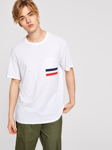 Men Colorblock Striped Pocket Patched Top