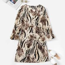 Plus Animal Print Bell Sleeve Surplice Wrap Dress