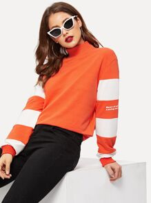 High Neck Color Block Letter Pullover
