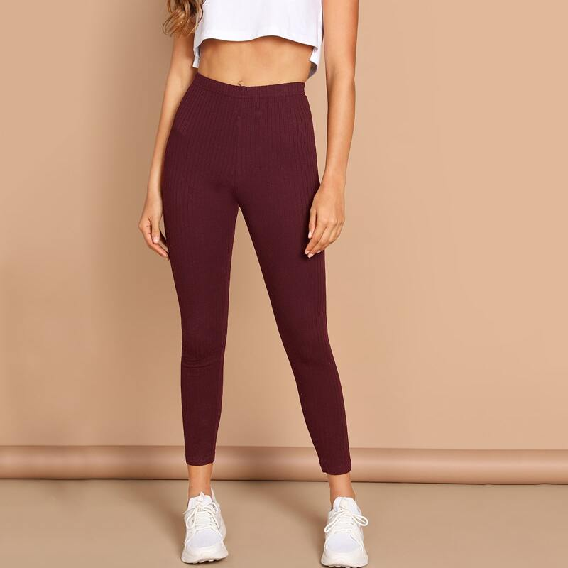 High Waist Ribbed Knit Solid Leggings, Burgundy