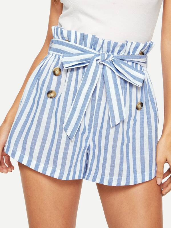 Paper Bag Waist Buttoned Stripe Shorts by Shein