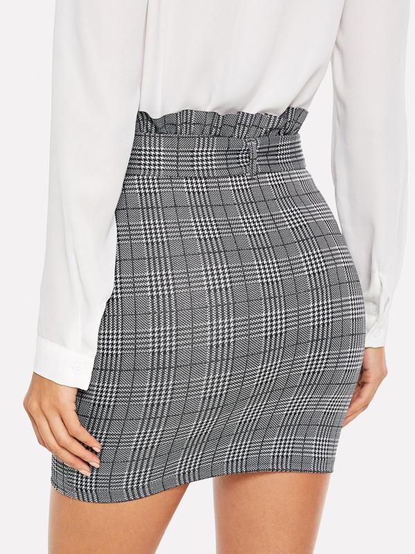695efc4212 Paperbag Waist Houndstooth Fitted Skirt | SHEIN