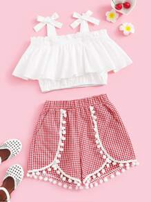 Girls Knot Cold Shoulder Top & Pom Pom Wrap Shorts Set