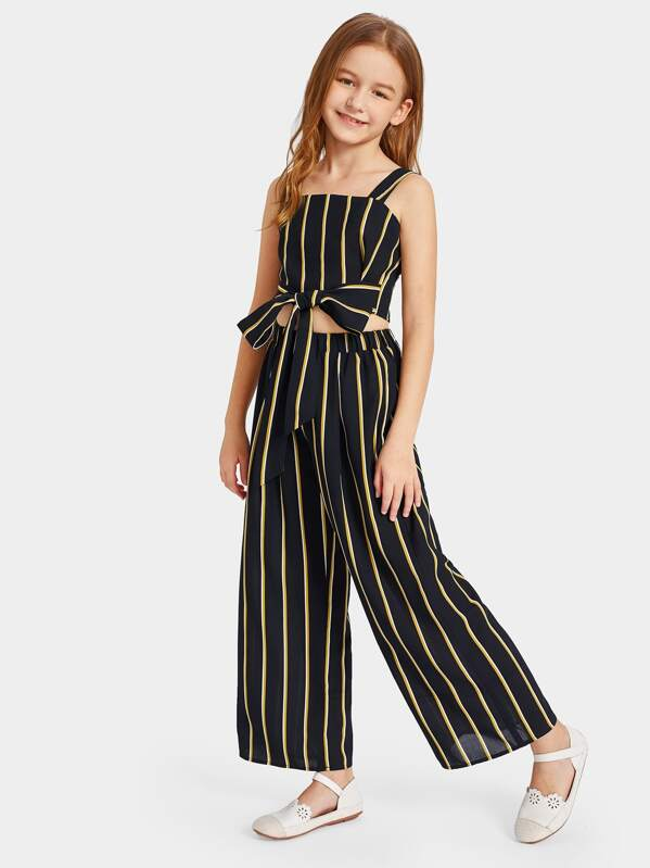 b2d8181791e4 Cheap Girls Tie Waist Striped Crop Top & Wide Leg Pants Set for sale ...