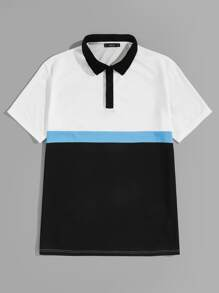 Men Contrast Collar Colorblock Polo Shirt