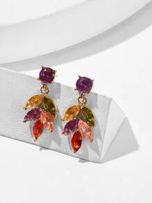 Color-block Rhinestone Leaf Drop Earrings 1pair