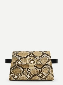 Ring Detail Snakeskin Print Bum Bag
