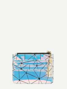 Geometric Print Iridescent Purse