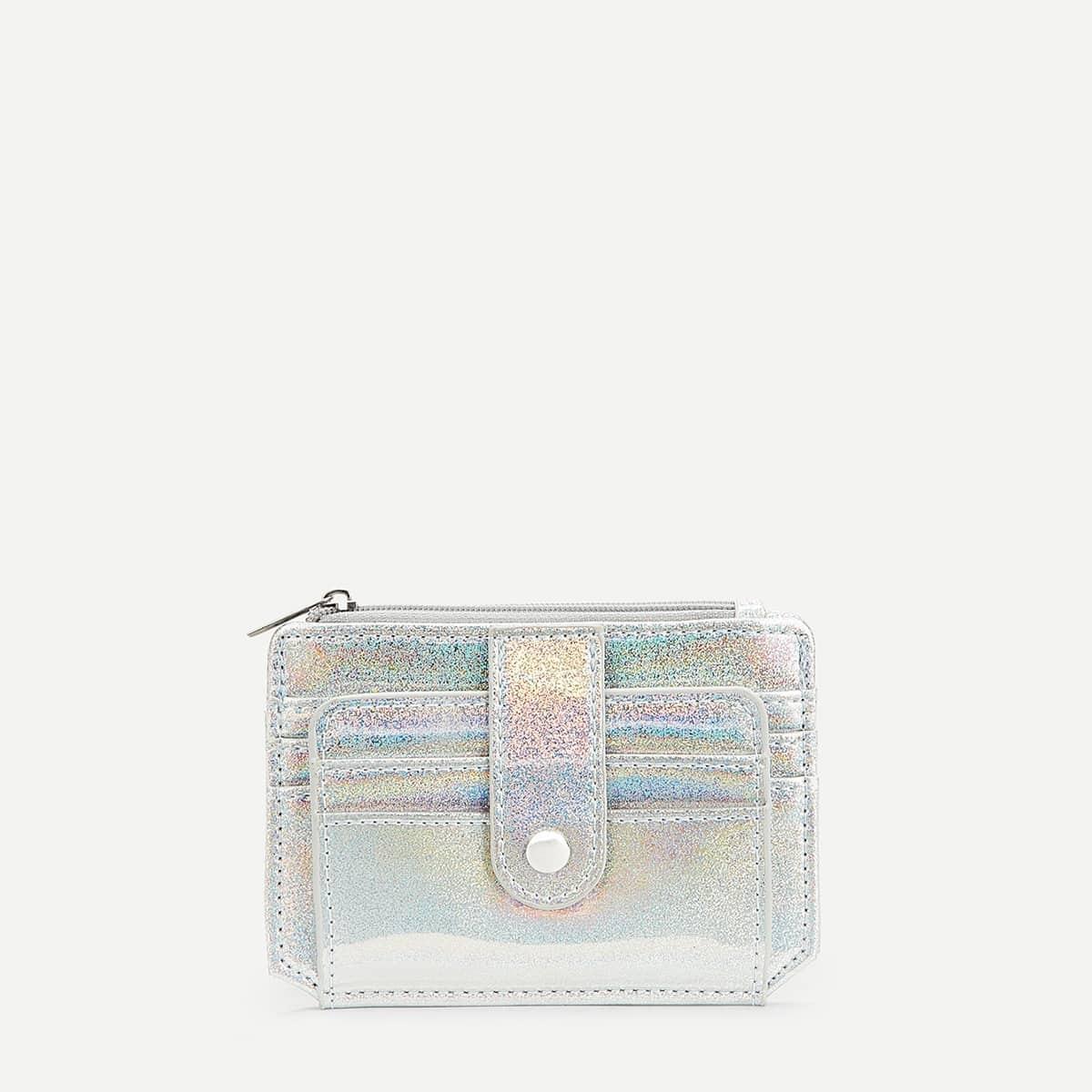 Brieftasche mit schillerndem Detail und Reißverschluss