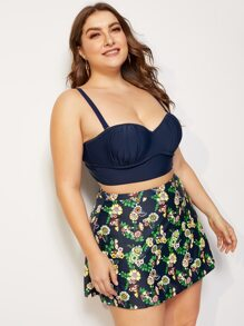 Plus Ruched Underwire Top With Floral Skort Bikini