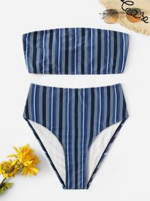 Striped Bandeau With High Waist Bikini Set