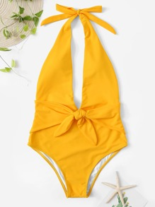 Knot Front Open Back One Piece Swimsuit