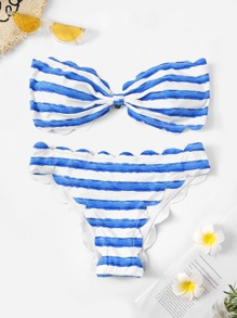 Striped Scalloped Trim Bandeau With Panty Bikini