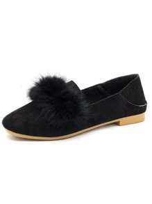 Faux Fur Decor Suede Flats
