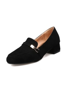 Metal Detail Suede Block Loafers