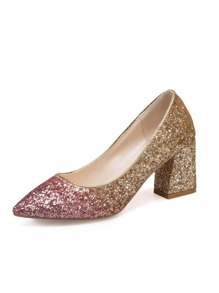 Ombre Glitter Chunky Heels