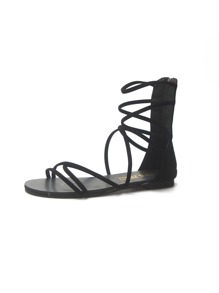 Zip Back Open Toe Strappy Sandals