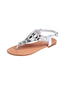 Rhinestone Decor Toe Post Sandals