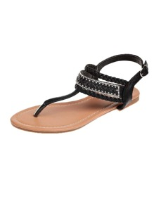 Braided Detail Toe Post Sandals
