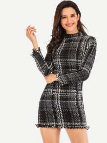Mock Neck Fringe Hem Plaid Tweed Dress