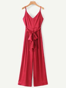 Self Tie Solid Cami Jumpsuit