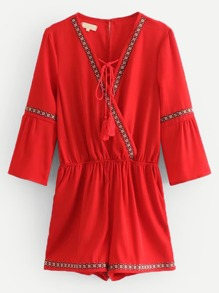 Lace-up Front Embroidered Romper