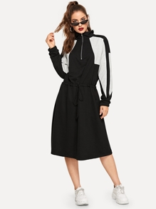 Drawstring Waist Zip Half Placket Sweatshirt Dress