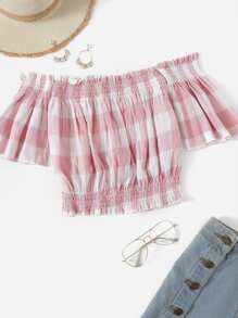 Plaid Print Ruffle Trim Crop Blouse
