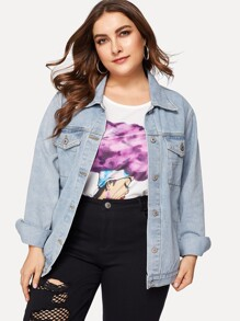 Plus Bleach Wash Denim Jacket