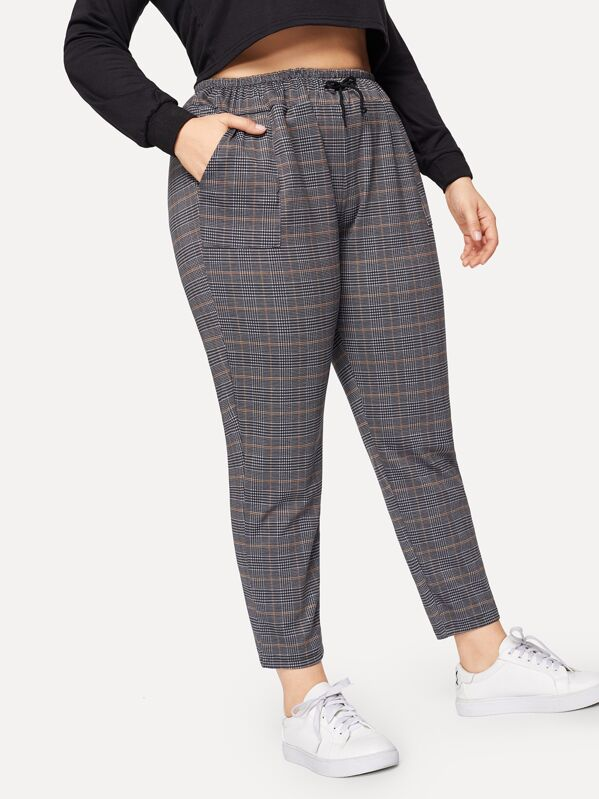 Plus Plaid Drawstring Waist Pants by Sheinside