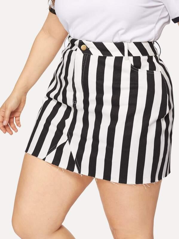 090a0219e16a Cheap Plus Striped Denim Skirt for sale Australia | SHEIN