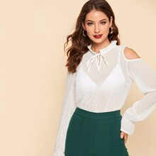 Tie Neck Frill Open Shoulder Blouse