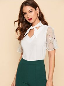 Tie Neck Embroidered Mesh Sleeve Top