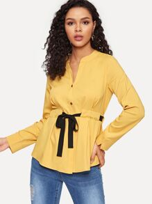 Drawstring Waist Button Through Blouse