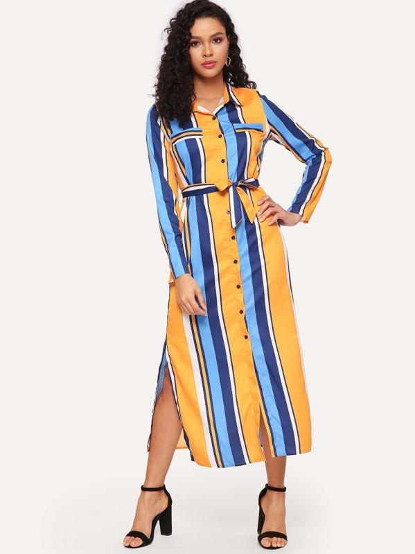 a6a9eff69c6 Striped Split Hem Belted Shirt Dress   SHEIN