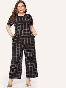 Plus Pocket Side Plaid Jumpsuit
