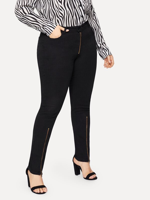Plus Zip Solid Jeans by Sheinside