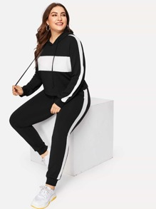 Plus Two Tone Drawstring Hoodie With Pants