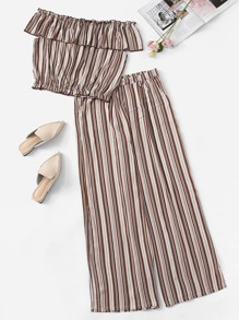 Plus Off Shoulder Striped Top With Pants