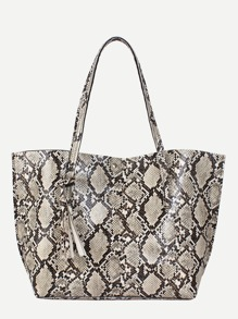 Tassel Decor Snakeskin Tote Bag