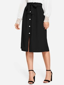 Button Front Tie Waist Skirt