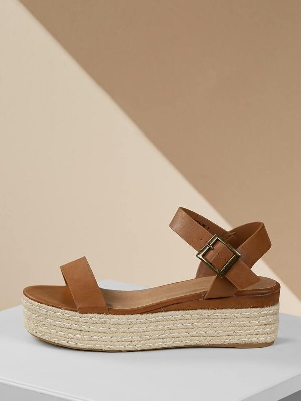6b2540d874e292 One Band Jute Trimmed Buckle Flatform Sandals