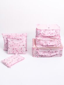 Unicorn Print Makeup Storage Bag Set 6pcs